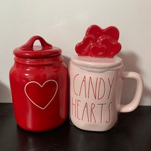 RAE DUNN valentine's Day mug and canister
